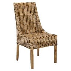 "Set of two woven arm chairs with mango wood frames.Product: Set of 2 chairsConstruction Material: Mango woodColor: WalnutFeatures: Woven18.5"" Seat height eachDimensions:  38.6"" H x 26.4"" W x 20.1"" D each"
