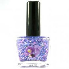 Freesia Nail Polish - www.chloeandbella.com Freesia is a gorgeous blend that includes a soft shimmering purple base, three different bright yellow glitters, four different white glitters, and five different purple glitters of various sizes and shapes. This polish is absolutely PACKED with sparkle!