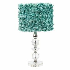 This is a Shabby shabby chic classic elegant chic shabby Lamp. The lamp features large crystal flower bases and Turquoise Rose garden Drum Shade. Led Color, Standard Lamps, Lamp, Table Lamp Sets, Lamp Sets, Blue Lighting, Teal Lamp, Drum Shade, Different Shades Of Pink
