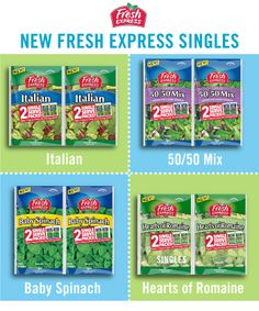 New Fresh Express Singles are perfect because you can open and enjoy the first bag, while the second stays fresh. Available in four great varieties including our very popular, Spring Mix!  @Fresh Express