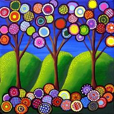 Whimsical Trees Blossoms Folk Art Giclee Print via Etsy