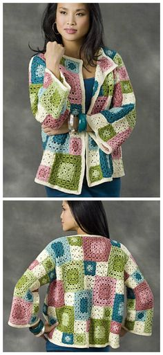 Crochet clothes 276408495868072499 - Crochet Granny Square Jacket Cardigan Free Patterns Source by diyhowtogroupie Crochet Cardigan Pattern, Crochet Poncho, Crochet Granny, Easy Crochet, Free Crochet, Crochet Patterns, Crochet Sweaters, Crochet Clothes For Women, Crochet Squares Afghan