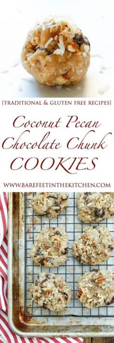 Chewy, chocolate, coconut, and pecan filled cookies! (traditional and gluten free recipes included)