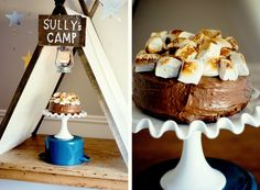 Camping_Birthday_Party_Dessert_Table_Smores_Cake