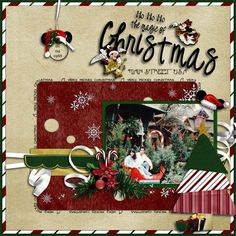 Disney Scrapbooking forum - get ideas by seeing what others have done! Christmas Scrapbook Layouts, Disney Scrapbook Pages, Scrapbook Templates, Scrapbook Sketches, Scrapbooking Layouts, Scrapbook Cards, Disney Christmas Cards, Mickey Christmas, Christmas Ornaments To Make