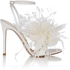 Gianvito Rossi Women's Selah Satin Sandals ($1,195) ❤ liked on Polyvore featuring shoes, sandals, white, embellished sandals, white embellished sandals, ankle wrap sandals, feather sandals and ankle strap high heel sandals