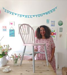 Alison Sadler 'Made it my Own' with Annie Sloan painting her chair in Chalk Paint® in Antoinette and Paris Grey legs, for a pretty in pink romantic look.
