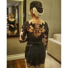 Instagram photo by verakebaya - @ektahathi ....❤️ #backdetail  Dress by me   ___ #partydress #welcomedinner #lace #batik #kebaya #wearejinta