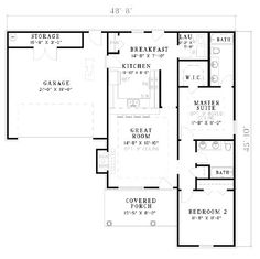 Design Connection, LLC - House Plans & House Designs - Plan detail Note: This is a cost estimate based upon average per sq ft construction cost per US Census Bureau data. Does not include cost of land. $95,000 - $125,000 Specifications Square Feet: 1067 Bedrooms: 2 Full baths/Half baths: 2 Garage: 2 (-) Exact Width: 48'-8 Exact Depth: 45'-10 Style: Ranch Foundation Type: Slab, Crawlspace Click here for more detailed plan information.