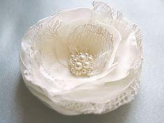 Ivory Lace Bridal Hair Flower Organza Flower by BelleBlooms, $26.00