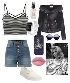 """""""Sailor Me This"""" by zmills151 on Polyvore featuring Casetify, LE3NO, Faith Connexion, Vans, Lime Crime, Olivine and stripedshirt"""