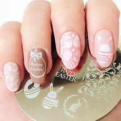 1 St Leuke Pasen Thema Bunny Ei Schattige Konijn Nail Art Stamping Template Afbeelding Plaat GEBOREN PRETTY BP #60