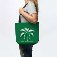 Palm beach Florida - Palm - Tote | TeePublic Palm Beach Florida, Florida Beaches, Urban Looks, Urban Fashion, Reusable Tote Bags, Urban Street Fashion