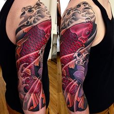 Red Koi and Lotus sleeve japanese tattoo by George Bardadim Traditional Japanese Tattoo Sleeve, Japanese Tattoo Meanings, Japanese Koi Fish Tattoo, Japanese Tattoos For Men, Japanese Sleeve Tattoos, Half Sleeve Tattoos Black, Best Sleeve Tattoos, Black And Grey Tattoos, Half Sleeve Tattoos Designs