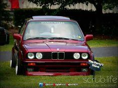 BMW E30 3 series burgundy slammed
