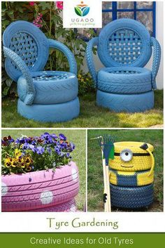 Tire construction - creative ideas for old tires - pop robert - decoration - . - Tire construction – creative ideas for old tires – pop robert – decoration – - Tire Garden, Garden Yard Ideas, Garden Crafts, Diy Garden Decor, Garden Projects, Garden Bed, Garden Ideas Using Old Tires, Garden Tools, Craft Projects