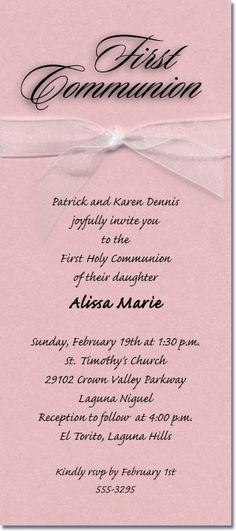 Shimmery Pink Ribboned Communion Invitations, First Communion Invitations