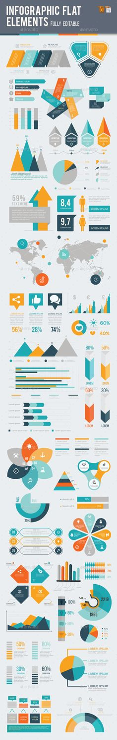 Infographic Flat Element Templates Vector EPS, AI