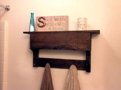 Pallet board bathroom shelf