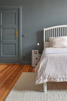 "is part of Master Bedroom Makeover Reveal Decorating Ideas Given that we painted our bedroom almost a year ago, we're definitely well overdue sharing our ""finishe - Bedroom Loft, Blue Bedroom, Bedroom Colors, Bedroom Decor, Bedroom Ideas, Loft Room, Bedroom Inspo, Bedroom Wall, Blue Feature Wall"