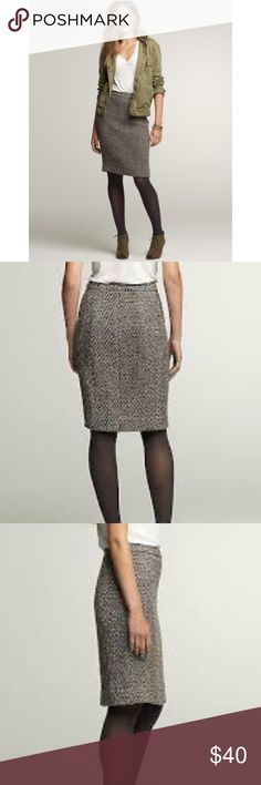 J.Crew Timber Tweed pencil skirt sz 4. Gorgeous! J.Crew Timber Tweed pencil skirt. Size: 4. Length: 20.5 inches. Waist: 14.5 inches. Fully lined. Back slit. Back zip. Tan, brown & black tweed with metallic copper flecks. Gorgeous skirt! Great preowned condition. J. Crew Skirts Pencil