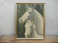 Vintage Mare and Foal Horse Paint By Number Decor. $11.00, via Etsy.
