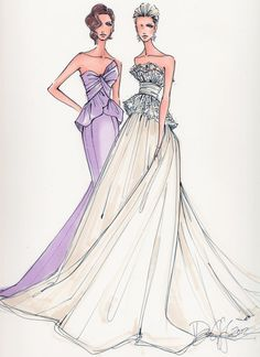 Custom Wedding Gown Illustration 2 BODIES by IllustrativeMoments, $250.00