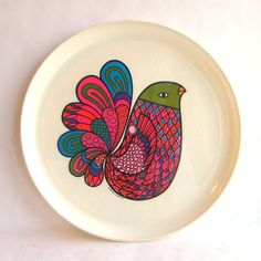 Melamine bird plate, 1969 Deka Plastics, Inc.