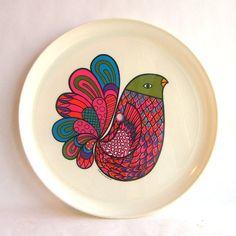 melamine bird plate, 1969, Deka Plastics Inc.