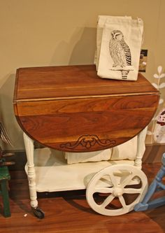 Pretty tea cart, painted with stained top