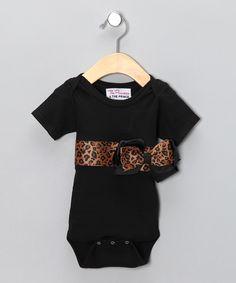 Brown Leopard Bow Bodysuit - Infant