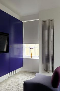 Product image for Aeon Imza Vertical Radiator  Purple soft furnishing and glossy deep purple furniture