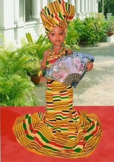 Ethiopian gown with headdress  for girls.