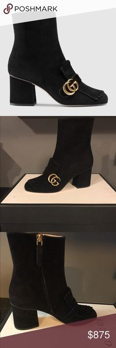 "Gucci Suede Ankle Boots! DESCRIPTION The suede ankle boot with double G hardware detail on fold over fringe.  Black suede Double G Fold over fringe detail Side zip Mid heel 3"" heel Made in Italy Gucci Shoes Ankle Boots & Booties"