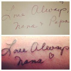 Nanas handwriting tattoo