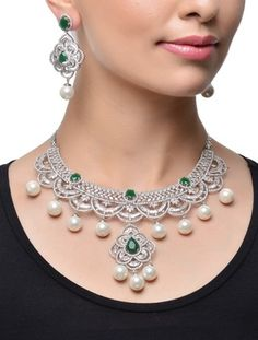 Multicolor american diamonds necklace-sets