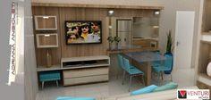 Sala integrada com a cozinha.