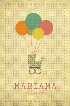 Geboortekaartje meisje - Ballonnen met koets - vintage - Pimpelpluis - https://www.facebook.com/pages/Pimpelpluis/188675421305550?ref=hl (# vintage - ballon - kleurrijk - vrolijk - koets - retro - sterren - origineel)