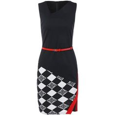 Argyle Skew Neck Pencil Dress (36 BAM) ❤ liked on Polyvore featuring dresses, rosegal, argyle dress and pencil dress