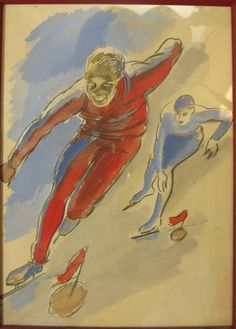 1932 Artwork by Milivoj Uzelac, LES JOIES DU SPORT (Milivoj Uzelac (1897-1977) was a Croatian artist, influential in the Zagreb modern art scene of the 1920s and 30s.)