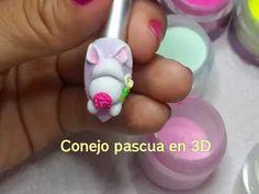 Super Nails Art Sencillo Paso A Paso Ideas Cat Nail Art, Animal Nail Art, Wonder Nails, 3d Acrylic Nails, 3d Nail Designs, Art Designs, Paris Nails, Bunny Nails, Easter Nail Art