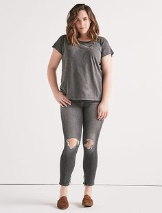 LACE UP SHOULDER TEE, BLACK MOUNTAIN