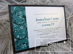Blue and black floral 21st birthday invitation