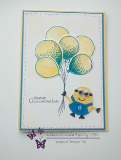 Minion joyeux Anniversaire Birthday cards boy with new Ballon Celebration stamp… Minion Birthday Card, Minion Card, Minions, Birthday Cards, Stampin Up, Celebration Balloons, Up Balloons, Owl Punch, Diy Gift Box