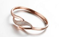 Rose+Gold+Plated+Infinity+Crystal+Bangle