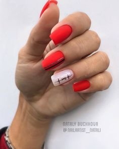 69 Trendy Red Acrylic Nail Designs : Red symbolizes enthusiasm and bolism. It is very suitable for red nail art design when celebrating festivals. Red nails are suitable for any shape and length of nails. Red Acrylic Nails, Matte Nails, Red Nails, Hair And Nails, Red Nail Designs, Acrylic Nail Designs, Latest Nail Art, French Tip Nails, Perfect Nails