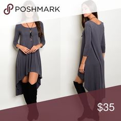 Dark Gray Mid Sleeve High-Low Dress New with tags. Dark gray mid sleeve scoop neck high-low dress. Perfect this fall season with knee-high boots.                                                            95% rayon, 5% spandex.                                                      PRICE IS FIRM UNLESS BUNDLED.                           ❌SORRY, NO TRADES. Boutique Dresses High Low