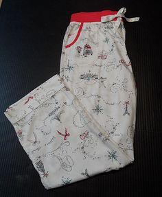 22094a2a7131 Victoria's Secret Pajama Bottoms Christmas Unwrap A Secret Eiffel Tower Size  L | eBay