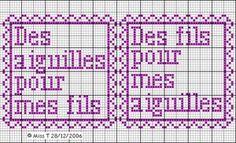 brodeuse - embroiderer - étiquette - des aiguilles pour mes fils - des fils pour mes aiguilles - point de croix - cross stitch - Blog : http://broderiemimie44.canalblog.com/