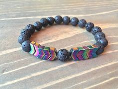 Excited to share this fun bracelet in my shop: Rainbow Hematite & Lava Stone Essential Oil Diffuser Bracelet, Aromatherapy Jewelry, Lava Bead Stretch Bracelet Lava Bracelet, Stone Bracelet, Bracelet Men, Beaded Jewelry, Beaded Bracelets, Men's Jewelry, Male Jewelry, Gold Jewellery, Unique Jewelry
